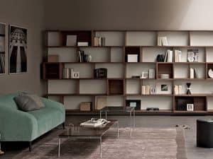 E-Wall libreria, Parete attrezzata, libreria modulare per casa e ufficio