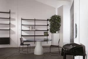 Elle System Shopfitting, Libreria modulare, in metallo laccato, adatta per farmacie e negozi