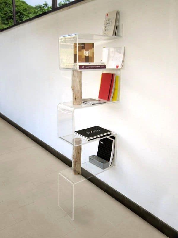 Exp libreria moderna per la casa libreria trasparente - Mobile con ripiani ...