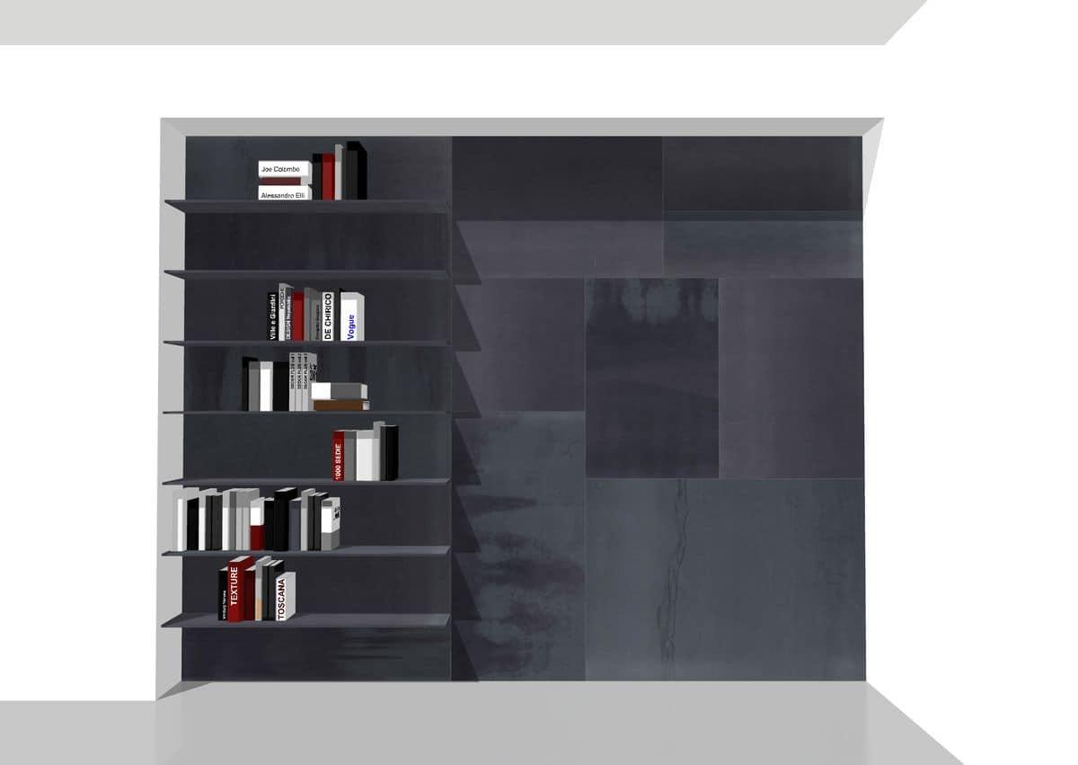 Boiserie attrezzata con mensole libreria in metallo for Mensole libreria