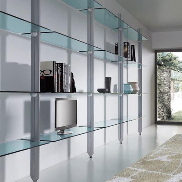 Libreria in alluminio e cristallo per case moderne for Libreria acciaio e vetro