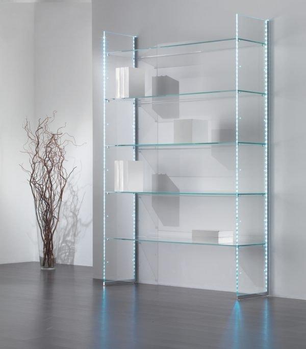 Glassystem COM/GS20, Libreria in vetro, con strisce LED