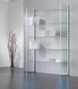 Glassystem comp.12, Libreria in vetro, con strisce LED