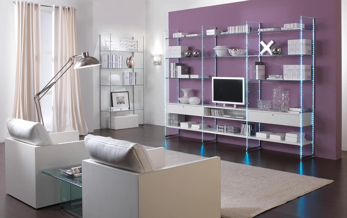 Librerie lineari mobile soggiorno struttura in vetro for Mobile soggiorno vetro
