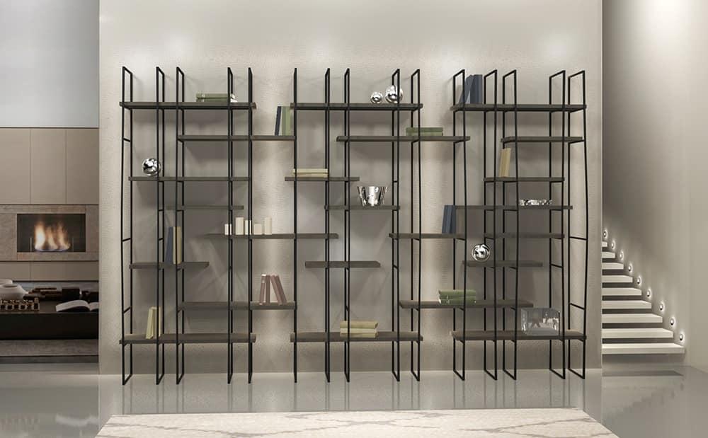 Librerie Moderne In Acciaio.Libreria Modulare In Acciaio Ripiani In Laminato Idfdesign