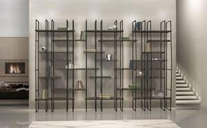 Infinity, Libreria modulare in acciaio, ripiani in laminato