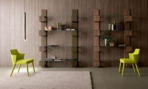 Infinity, Libreria moderna in legno con ripiani in vetro per soggiorni