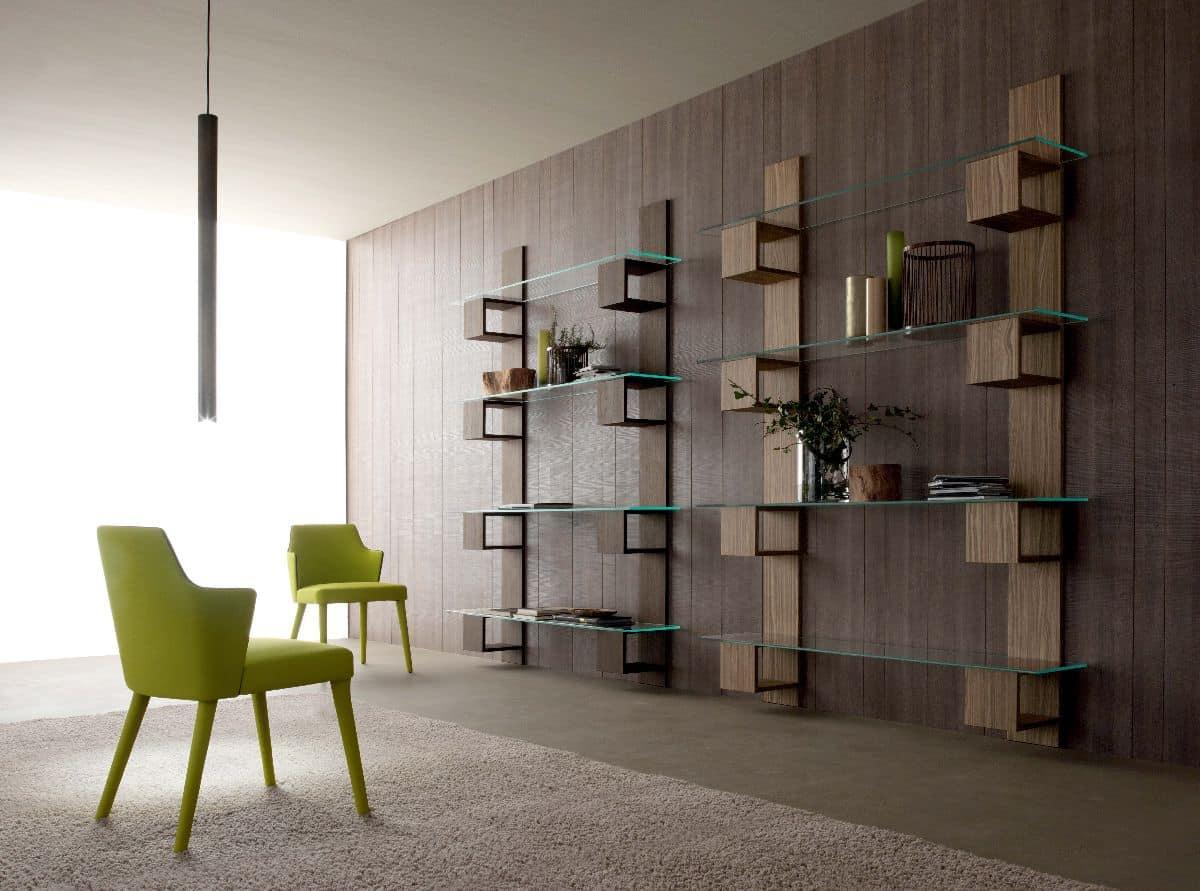 Libreria moderna in legno con ripiani in vetro per for Libreria acciaio e vetro