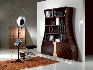 LB13 Cartesio, Libreria in legno ebano makassar curvato, decori floreali