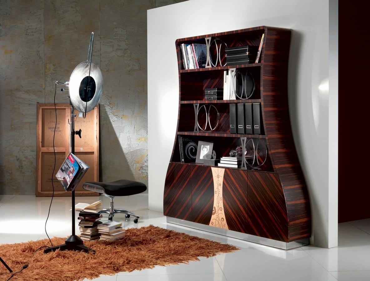Libreria in legno ebano makassar curvato decori floreali - Decori in legno per mobili ...