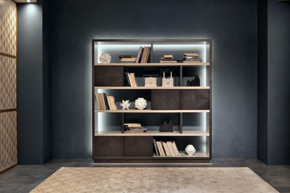 LB47 Desyo libreria, Libreria con scaffali in legno