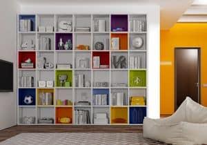 Libreria AL 12, Libreria moderna con box colorati