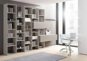 Libreria AL 13, Libreria con contenitori con apertura basculante