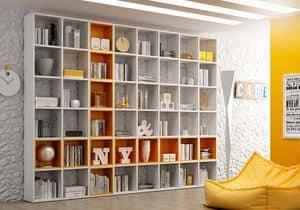 Libreria AL 14, Libreria a giorno con box quadrati, in stile semplice