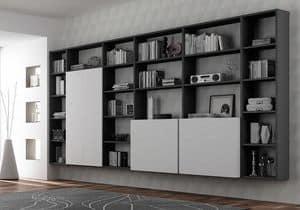 Libreria AL 16, Libreria con 3 wall-box con apertura push-pull