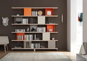 Libreria AL 17, Libreria fatta con mensole e contenitori quadrati