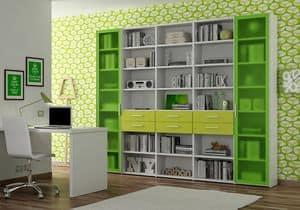 Libreria AL 18, Libreria con 2 ante in alluminio e metacrilato