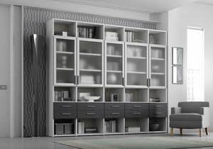 Libreria AL 19, Libreria con 5 antine trasparenti e 10 cassetti