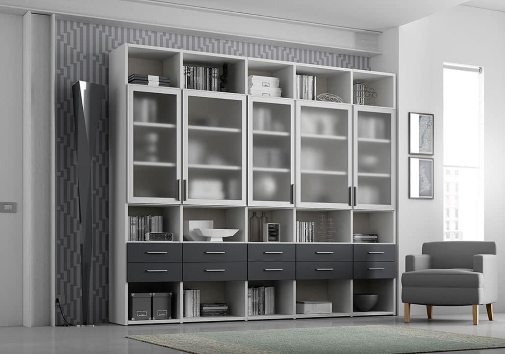 Libreria con 5 antine trasparenti e 10 cassetti | IDFdesign