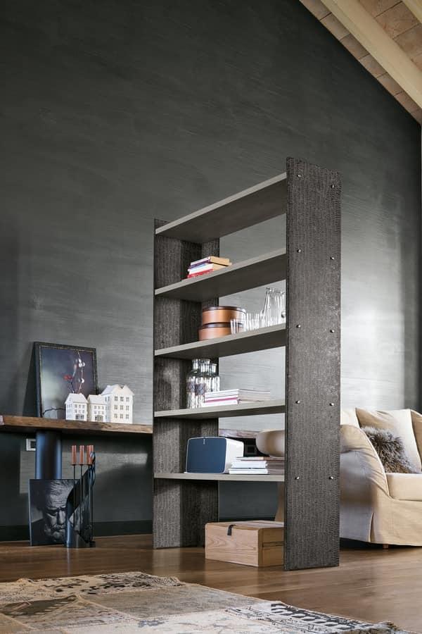LINEAR 90-120 PP119-PP120, Libreria in metallo verniciato con mensole in laminato