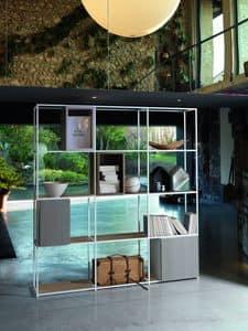 FOSTER composizione Living, Libreria design in alluminio con ripiani in rovere