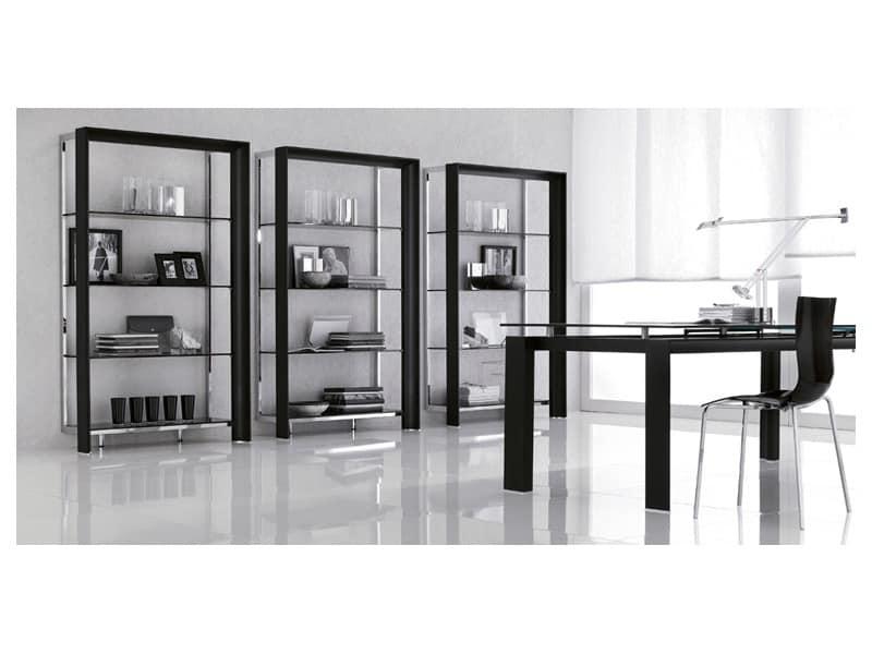 Credenza Con Vetro Moderna : Libreria pregiata con ripiani in vetro soggiorno moderno idfdesign