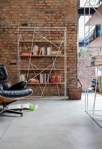NAVIGLIO, Libreria in tondino laccato e vetro, per l'ufficio moderno