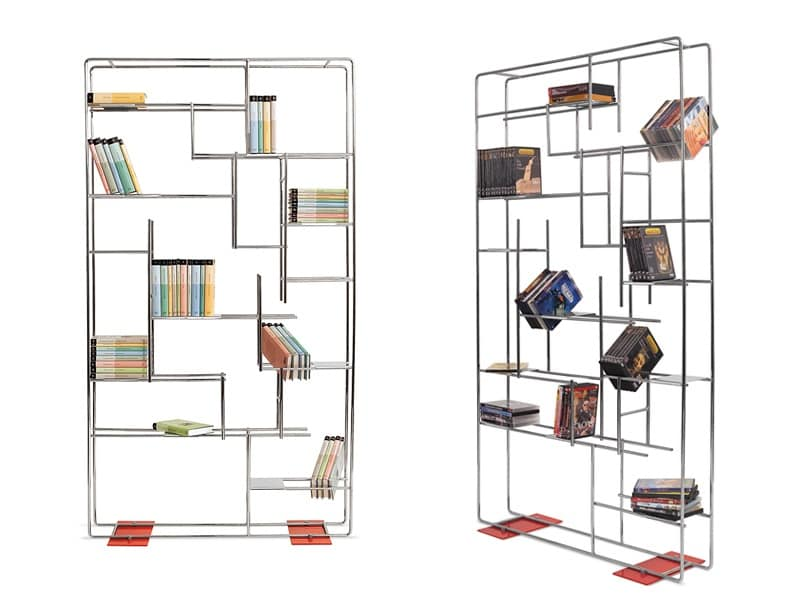 Libreria con struttura in tondino d 39 acciaio per salotti - Librerie arredo design ...