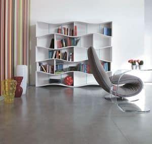 ONDA, Libreria elegante in laminato, ripiani in cristallo, per studio