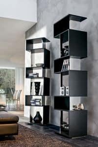 OSUNA, Libreria girevole in legno laccato, finitura a specchio