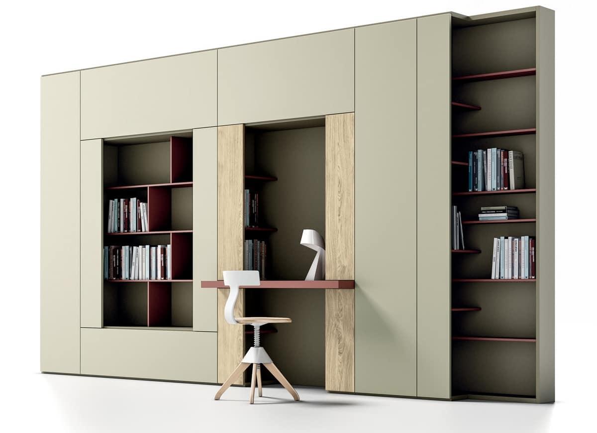 Libreria con piano per scrittura per salotti moderni for Armadi per salotti