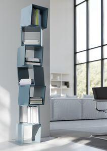 RUBIK comp.02, Libreria moderna per la casa, composta da moduli cubici