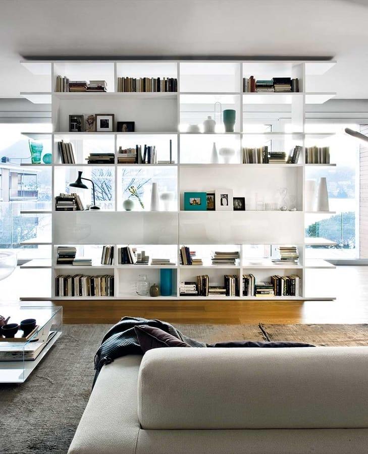 Scaffalatura bifacciale per salotti e uffici moderni for Scaffalatura libreria