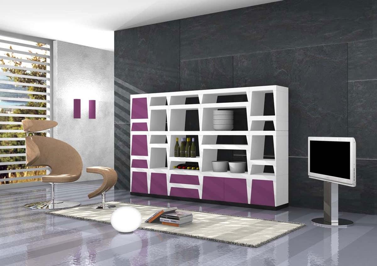Libreria design in laminato laccato idfdesign for Librerie design outlet