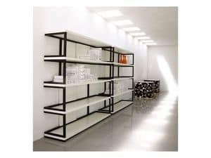 Sipario, Libreria in legno massello, ripiani laccati