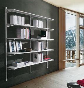 Socrate home, Mobile per libri con ripiani in vetro, per la casa