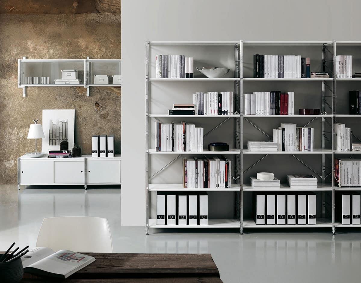 Librerie Di Design : Libreria componibile da parete ripiani in vetro idfdesign