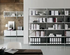 Socrate home-office, Libreria in metallo e vetro, varie finiture