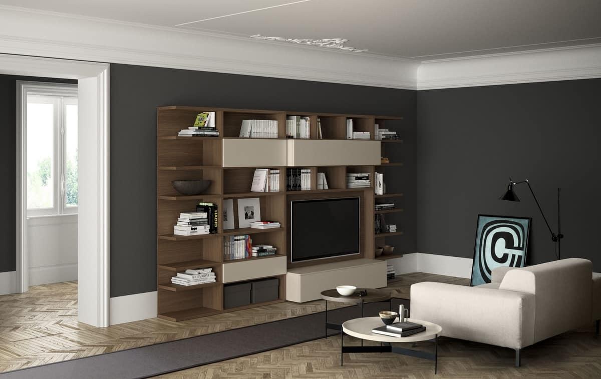 Spazioteca sp libreria moderna in legno con spazio tv with for Librerie design outlet