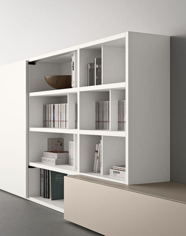 Spazioteca SP016, Libreria modulare con mensole e box contenitori