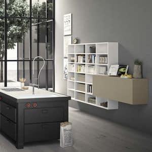 Spazioteca SP019, Libreria modulare in legno, fatta su misura, per ufficio
