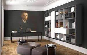 Spazioteca SP022, Libreria a muro in legno, per camera d'albergo