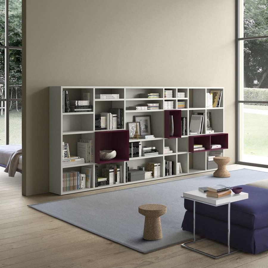 Spazioteca SP027, Libreria modulare, in legno, con box di varie dimensioni