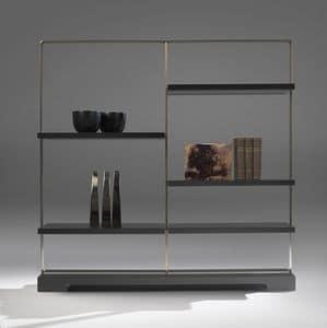 Tao bookcase 2, Libreria in acciaio e laminato, con ripiani in cristallo