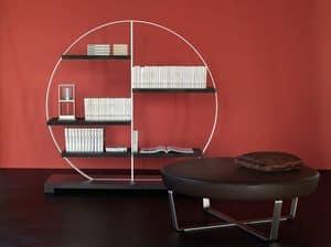 Tao bookcase 1, Libreria in acciaio e laminato, con forma circolare