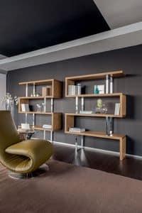 TRAFALGAR, Libreria in legno e supporti in metallo cromato
