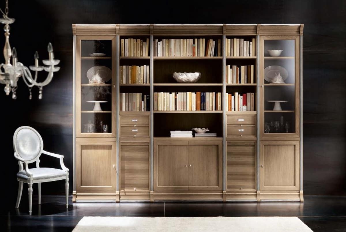 Libreria modulare in rovere con armadietti e vetrine   IDFdesign