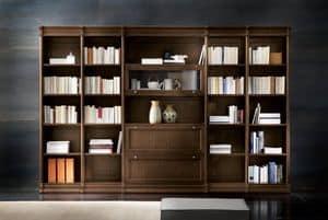 Victoria Art. 03.006, Libreria modulare in rovere, per salotti contemporanei