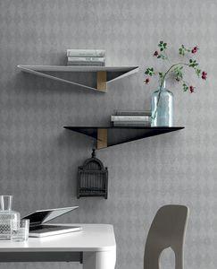 ALBATROS, Mensola in metallo con elemento centrale  in finitura legno