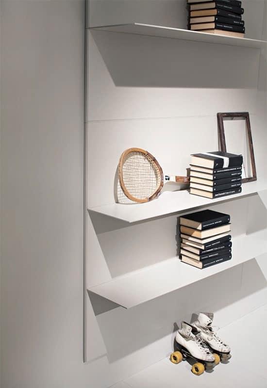 ALL comp.01, Mensole lineari per salotto e libreria, in alluminio